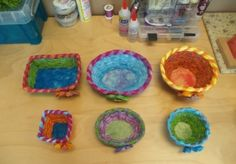 use yarn, raffia, fabric; various shapes and sizes