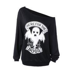 Skew Collar Ghost Print Halloween Sweatshirt, BLACK, XL in Sweatshirts & Hoodies | DressLily.com