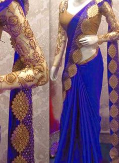 Shop Inspired style royal blue color satin georgette silk party wear saree at… Fancy Sarees Party Wear, Saree Designs Party Wear, Party Wear Sarees Online, Online Shopping Sarees, Party Sarees, Saree Blouse Patterns, Saree Blouse Designs, Indian Fashion Dresses, Indian Outfits