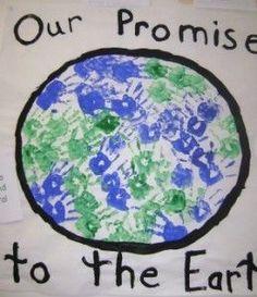 kindergarten collaborative hand print Earth Day earth art project