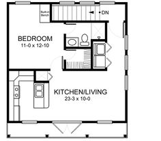 Home Plans HOMEPW03152 - 520 Square Feet, 1 Bedroom 1 Bathroom Country Home with 2 Garage Bays