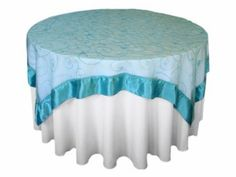 """Amazon.com - 60x60"""" Embroidered Sheer Organza Table Overlay - Silver - Tablecloths"""