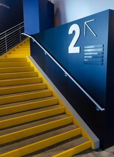 I quite like the idea on using the acrylic signage on walls indoors as it makes the space feels more modern and indoors. Environmental Graphic Design, Environmental Graphics, Interior Stairs, Office Interior Design, Gym Design, School Design, Ecole Design, Office Signage, Wayfinding Signs