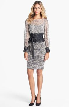 Tadashi Shoji Print Silk & Lace Dress (Petite) available at #Nordstrom  new fav!