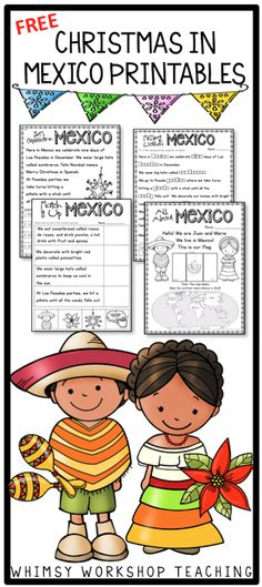 FREE sample pages to celebrate Christmas in Mexico from the big bundle of 8 different countries with writing and art projects