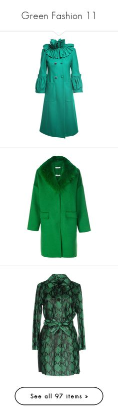 """Green Fashion 11"" by franceseattle ❤ liked on Polyvore featuring outerwear, coats, verde, flared coats, collar coat, flare coat, double-breasted coat, long sleeve coat, green and green coats"