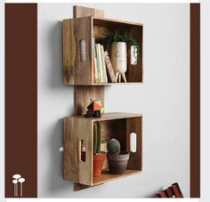 Use Pallet Wood Projects to Create Unique Home Decor Items – Hobby Is My Life Wood Crate Shelves, Pallet Shelves, Wood Crates, Wood Pallets, Crates On Wall, Wine Box Shelves, Apple Crate Shelves, Metal Shelving, Crate Bookshelf