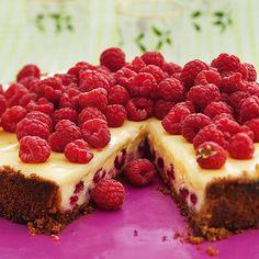 Halloncheesecake med vit choklad