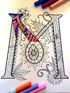 Letter M Zentangle Inspired by the font Harrington by DJPenscript