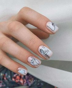 70 Simple Winter Nail Art Ideas for Short Nails – Red Unicorn Cute Acrylic Nails, Cute Nails, Pretty Nails, Acrylic Nail Designs, Short Nail Manicure, Short Nails, Gel Nails, Picasso Nails, Beauty Hacks Nails