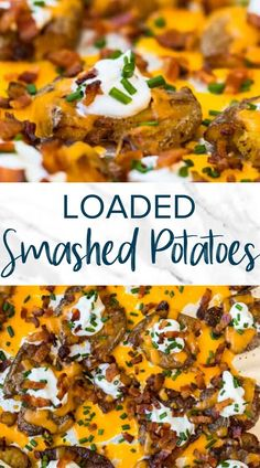 These loaded smashed potatoes are the ultimate side dish. Made with potatoes, bacon, sour cream and cheese, these smashed potatoes are great as an appetizer too. Crispy edges and light Potato Sides, Potato Side Dishes, Side Dishes Easy, Side Dish Recipes, Main Dishes, Humble Potato, Game Day Appetizers, Game Day Food, Serving Plates