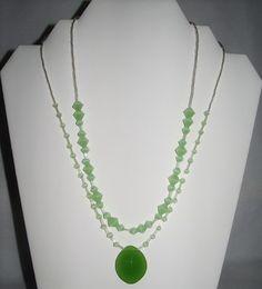 Glass Green Oval Pendant Multi Strand Diamond Shaped Beads Unique Gift | MJOYS - Jewelry on ArtFire