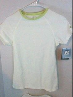 Russell Athletic Women's White Large Short Sleeve Cotton Spandex Shirt Mint Trim #RussellAthletic #ShirtsTops