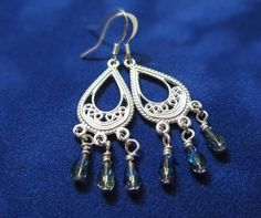 Boho blue & silver Chandelier earrings by BulletsBeadsBaubles