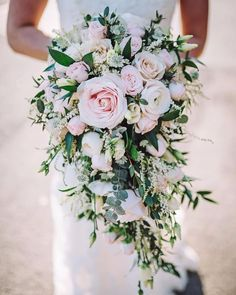 54 cascade wedding bouquets for charming brides page 13 of 54 vimdecor flowerbouquetwedding cascade wedding bouquets spring wedding bouquet greenery wedding bouquet 40 perfect peony wedding bouquets Cascading Wedding Bouquets, Cascade Bouquet, Bride Bouquets, Bridal Flowers, Flower Bouquet Wedding, Floral Wedding, Wedding Bride, Bridal Bouquet Pink, Luxury Wedding