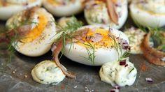 Egg og ansjos Frisk, Finger Foods, Tapas, Appetizers, Eggs, Breakfast, Morning Coffee, Egg, Finger Food