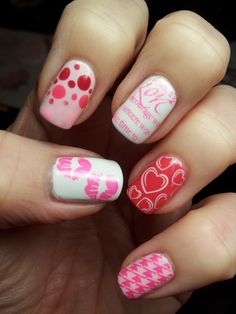 Valentine Nails modeled after a design from The Nail Polish Project