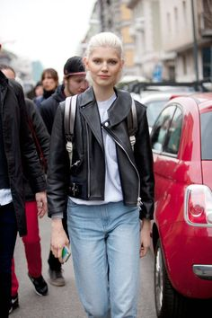 Leather Jacket+denim trousers: You can't fail! Street Style Photos Milan Fashion Week - Fall 2014