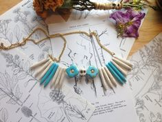 Candy Macabre  Faux Turquoise Flower & White Halite by NettleHeart