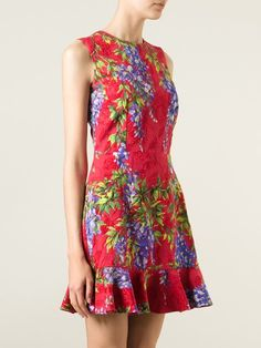 DOLCE & GABBANA wisteria print brocade dress