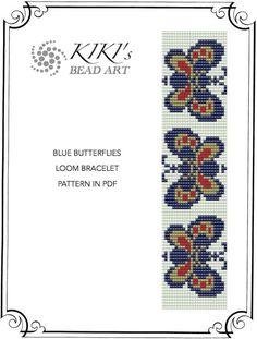 Blue butterflies LOOM bracelet PDF pattern instant download
