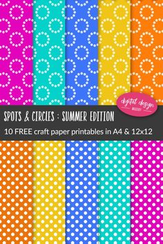 Get your craft projects ready for summer with these 10 brightly coloured scrapbook papers. Printable Scrapbook Paper, Digital Scrapbooking Freebies, Digital Scrapbook Paper, Printable Crafts, Printable Paper, Digital Papers, Handmade Card Making, Handmade Cards, Digital Paper Free
