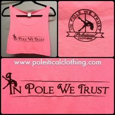 Our new IN POLE WE TRUST Cropped Tank in Perfect Pink! One size fits all, super soft, lightweight cotton tank that leaves your favorite pole dance grip points free and clear! $20 USD, worldwide shipping available. Shop online at http://www.etsy.com/shop/poleiticalclothing - all artwork copyright Poleitical Clothing. #poledance #poledancer #poledancing #polefitness