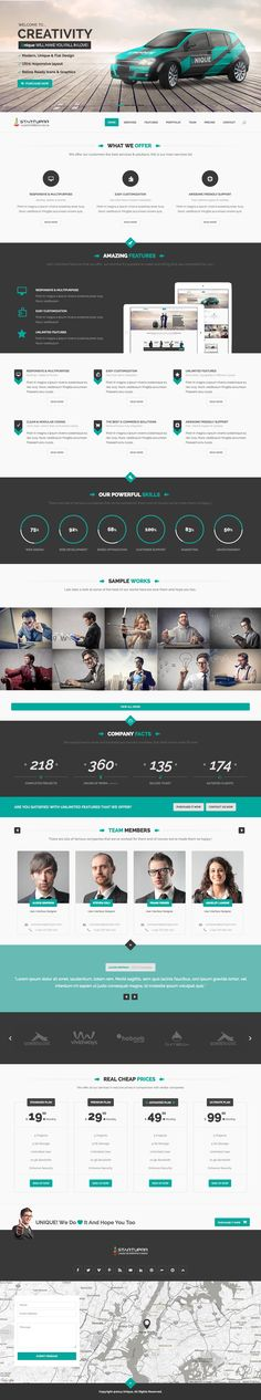 'Startuprr' is a responsive HTML template with a layout option for a long One Page website. The design could breath more but offers everything you'd need for a Single Page portfolio. Features include a big header slideshow, sample works, team section and a contact form over a Google Map. Also worth noting the purchase includes 6 months priority support.