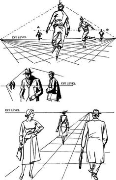 Drawing Figures & People in Perspective Drawing with One Point Two Point Perspective Techniques to Draw the Illusion of 3 Dimensional Objects on 2D Paper