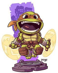 Chibi Michelangelo by Derek laufman Cartoon Kunst, Comic Kunst, Cartoon Art, Cartoon Characters, Comic Art, Teenage Mutant Ninja Turtles, Ninja Turtles Art, Teenage Turtles, Chibi Marvel