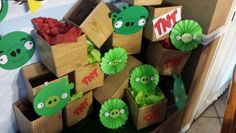 Angry Birdday Party projects bad piggies- paper fans, cricut,  print outs.TNT boxes.-shipping boxes with wood grain contact pappet