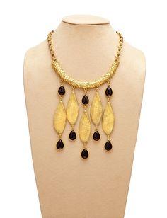 Theodora & Callum  // Antique Gold/Black Seashell Necklace