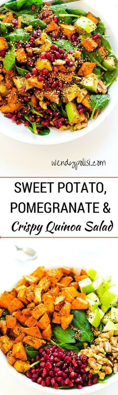 Sweet Potato Pomegranate and Crispy Quinoa SaladThis superfoods salad is so delicious and packed with nutrients!  An excellent way to stay on track with your health goals!