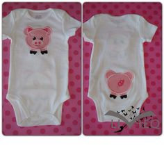 This adorable double applique has a pig face on the front, with the tail on your childs bottom!  Any colors can be changed by request.  Upon purchase