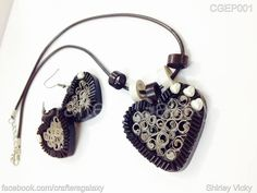Black and White Necklace Set - quilled by: Shirley Vickie