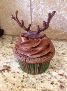 Chocolate Cupcake with Chocolate Fudge Icing and handmade chocolate deer head and antlers
