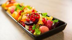 Ovnsbakte grønnsaker med granateple og mynte