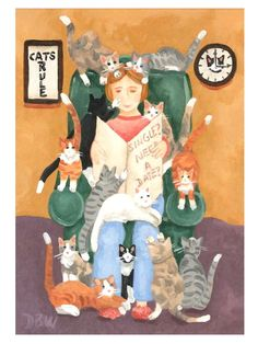 ACEO Original Acrylic Painting folkart figure cats humour cat lady