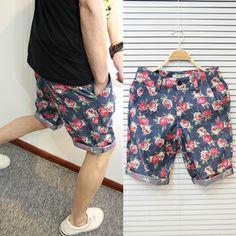 2013 Flower Summer men's vintage print shorts slim beach shorts casual floral print pants capris - on sale for only $13.5!