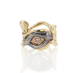 Evil Eye White Gold and Blackened Rhodium Diamond Ring