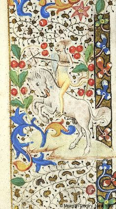 Hybrid monkey holding shield at right side and whirligig under left arm, astride rearing white horse   Book of Hours   France, Rouen   ca. 1465-1475   The Morgan Library & Museum
