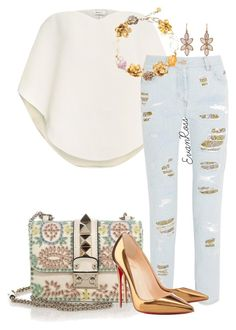 Simplicity - by irunaftergucci on Polyvore featuring polyvore fashion style Delpozo Roberto Cavalli Christian Louboutin Valentino Yves Saint Laurent Irene Neuwirth women's clothing women's fashion women female woman misses juniors