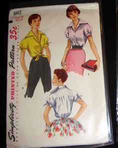 14deb4491f Simplicity 1012 - 50s Sewing Pattern Vintage Shirt Short Sleeve Tie Front