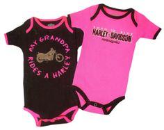 Harley-Davidson® Girls Baby Twin Pack Creeper My Grandpa Rides a Harley Pink