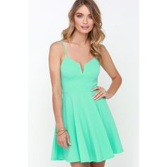 Best Place to V Mint Green Skater Dress ($36) ❤ liked on Polyvore