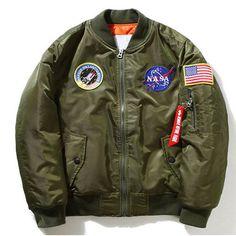 NASA Thin Mens MA1 Bomber Jacket USAF Kanye West Hip Hop Male Windbreaker Jacket Flag Mens Nasa Jacket SMC0296-4.9