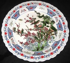 ANTIQUE CHINESE FLOWER BIRDS PORCELAIN PLATE CHARGER, KANG-XI MARK, NR
