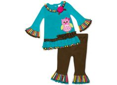Baby Essentials Baby Girls' 2-Piece Owl Ruffle Top & Leggings Set - Kids Baby Girl (0-24 months) - Macy's