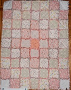 baby girl quilt blanket rag cotton flannel peach coral white heart Moda Sweet Baby Abi Hall prints c Baby Girl Quilts, Girls Quilts, Lovely Shop, Custom Quilts, Rag Quilt, Quilting Projects, Sewing Crafts, Flannel, Peach