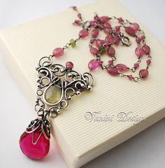 Allure-Fine Silver,Fuchsia Hot Pink Quartz,Green Moss Aquamarine,Pink ruby,Rubellite Pink Tourmaline necklace